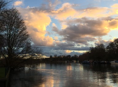 Richmond, sunset, winter 2017, Thames, river